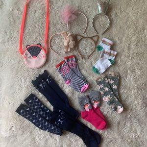 Girls graphic sock, headbands + purse lot